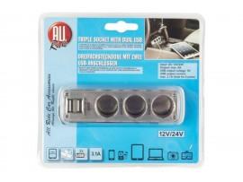 Trišakis su 2 USB 3,1A lizdais