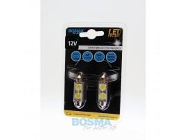 Lemputės BOSMA 12V 2xSMD 7080 LED SV8,5 WHITE 10x41 2vnt.